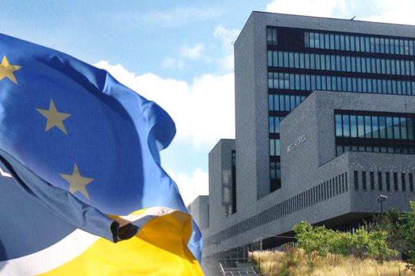 Europol flag and headquarters