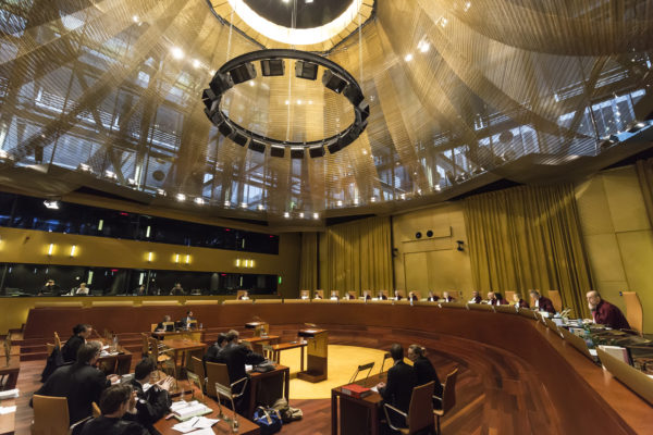 A hearing in the grand courtroom of the European Court of Justice